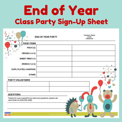 end of year classroom party sign up sheet pto today