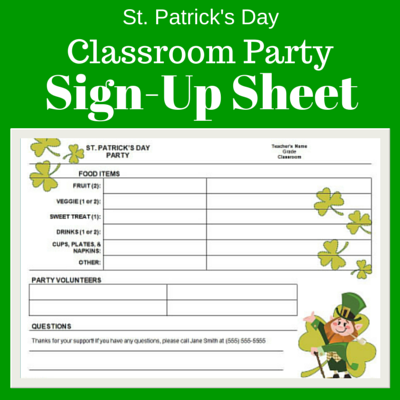 st patrick s day class party sign up sheet pto today