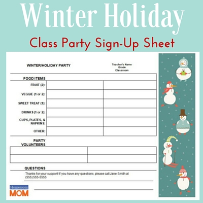 Winter Holiday Classroom Party Sign-Up Sheet - PTO Today