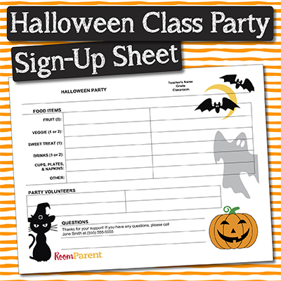 halloween classroom party sign up sheet pto today