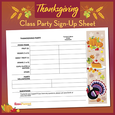 thanksgiving classroom party sign up sheet pto today