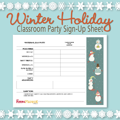 winter holiday classroom party sign up sheet pto today