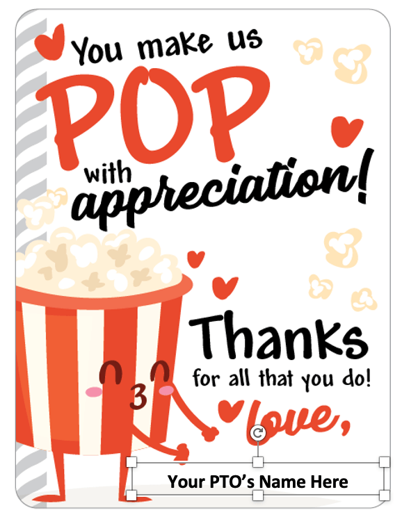 Teacher Appreciation Week Popcorn Bar Gift Tags