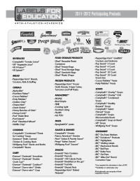 Labels for Education Participating Products List