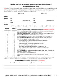Volunteer Form for Start of Year - Detailed - Two Parent