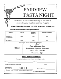 Flyer for our Pasta Night fundraiser
