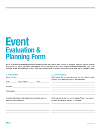PTO Today: Event Evaluation and Planning Form - PTO Today