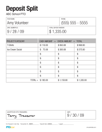 PTO Today: Deposit Split Form (completed sample)