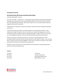Food Drive - Press Release
