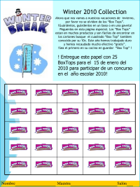 Winter 2010 Spanish Version Collection Sheet