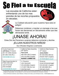 Spanish - Budget Cuts Flyer for California