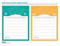 Teacher Appreciation Job Coupons for Kids