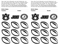 College Football (Fav. Team) Contest College Sheet