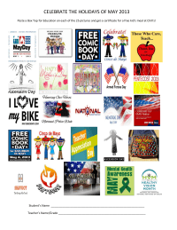 Celebrate the Holidays of May 2013 - 25 ct, editable sheet