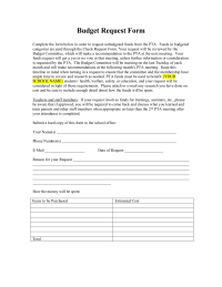 budget request forms Sample Budget Request Form - PTO Today