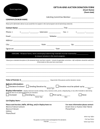 Secured Gifts In Kind Auction Donation Form  Fundraising Form Template