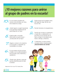 Top 10 Reasons To Join the School Parent Group (Spanish)