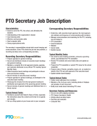 PTO Secretary Job Description