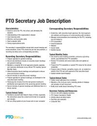 PTO Secretary Job Description