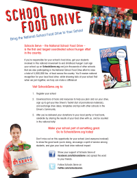 Schools Serve flyer for food drive coordinators