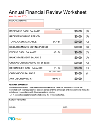 Annual Financial Review Worksheet Template