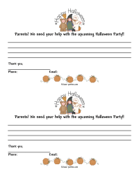 Halloween Class Party Parent Letter 2