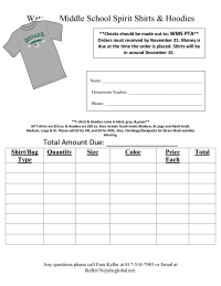 Spirit Wear Order From
