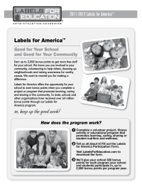 Labels for Education Labels for America Overview
