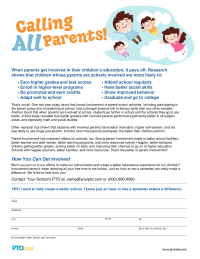 PTO Today: Calling All Parents Flyer