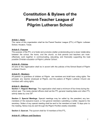 Parent Teacher League Constitution and By Laws for Church School