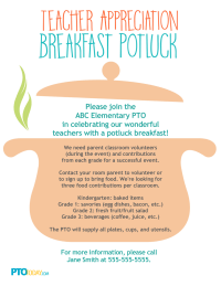Teacher Appreciation Breakfast Potluck Flyer
