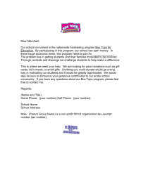 Box Tops Donation Letter