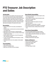 PTO Treasurer Job Description and Duties