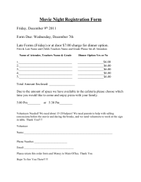 Movie Night Registration Form