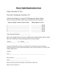 Movie Night Registration Form