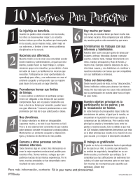 PTO Today: 10 Reasons To Get Involved - Spanish (black and white)
