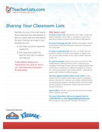 TeacherLists.com Fact Sheet for Teachers