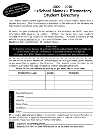 Student Directory Data Collection Form
