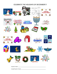 Celebrate the Holidays of December, 25 count collection sheet