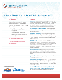 TeacherLists.com Fact Sheet for School Administrators