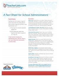 TeacherLists.com Fact Sheet for School Administrators