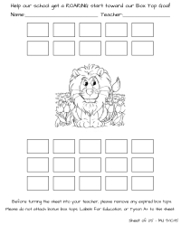 Lion Box Top Collection Sheet