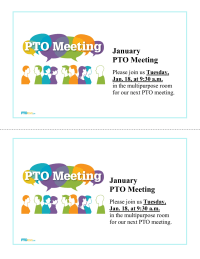 PTO Monthly Meeting Announcements