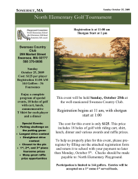 Golf Tournament flyer to raise money to build a new playground