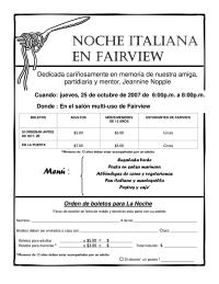 Pasta Night flyer in Spanish