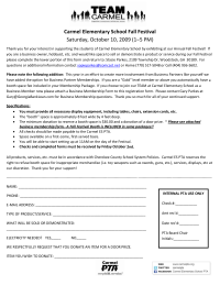 Fall Festival letter for vendors and bsuiness application
