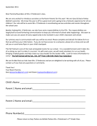 Room Parent Intro Letter and Info Request