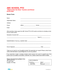 PTO Today: Auction Donor Form