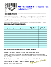 Beautiful Middle School Fun Run Pledge Form