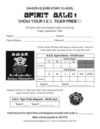 spirit shirt and magnet sale flyer